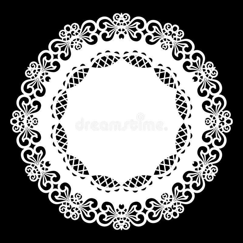 Schnüren Sie sich ringsum Papierdoily, die Spitzen- Schneeflocke und Element grüßen, Schablone für den Schnitt des Plotters, Lase vektor abbildung
