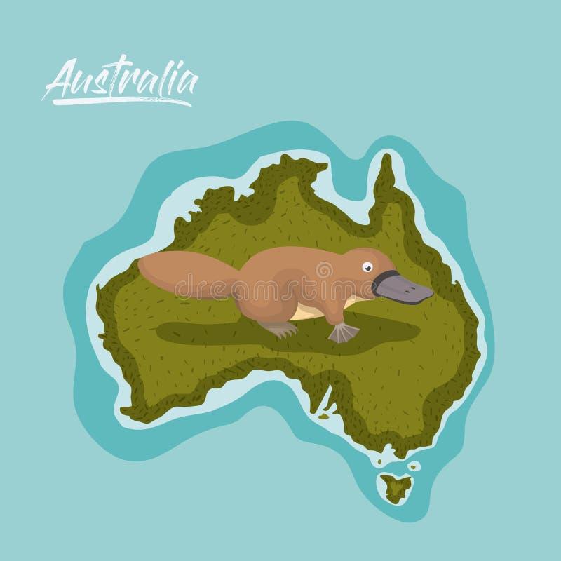 Schnabeltiere in Australien zeichnen im Grün umgeben durch den Ozean auf lizenzfreie abbildung