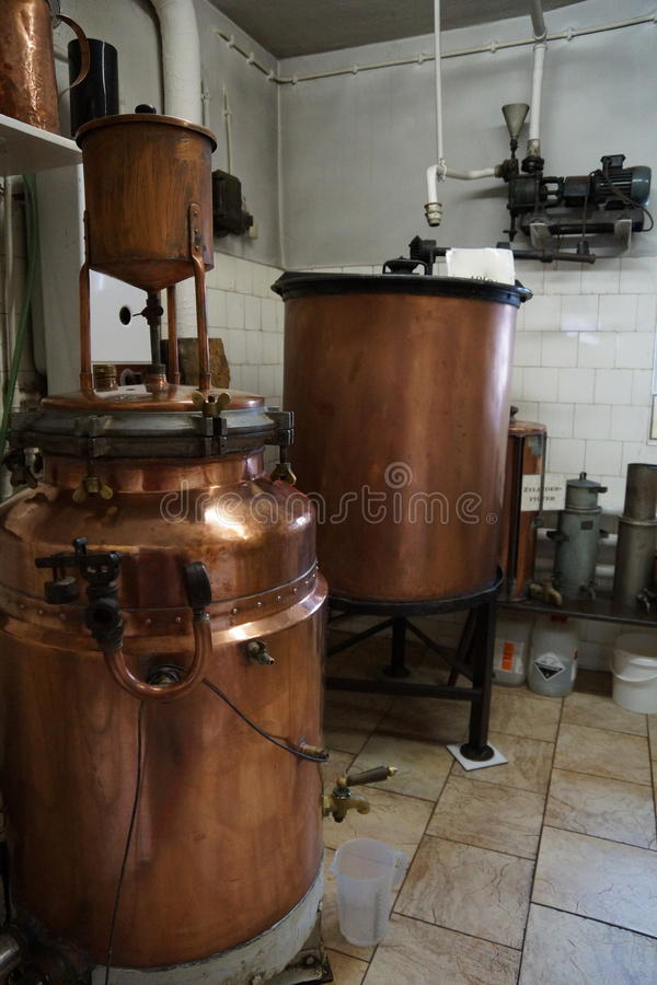 Schnapps distillery. Old fashioned schnapps distillery setup stock photos