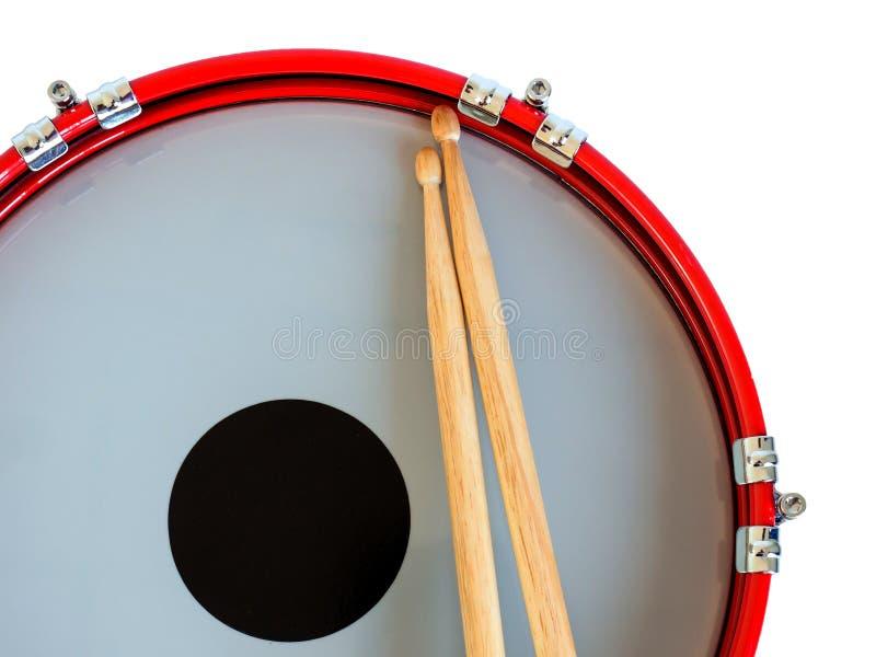 Schnarrtrommel und Trommelstock lokalisiert auf weißem Hintergrund Über Weiß lizenzfreies stockfoto