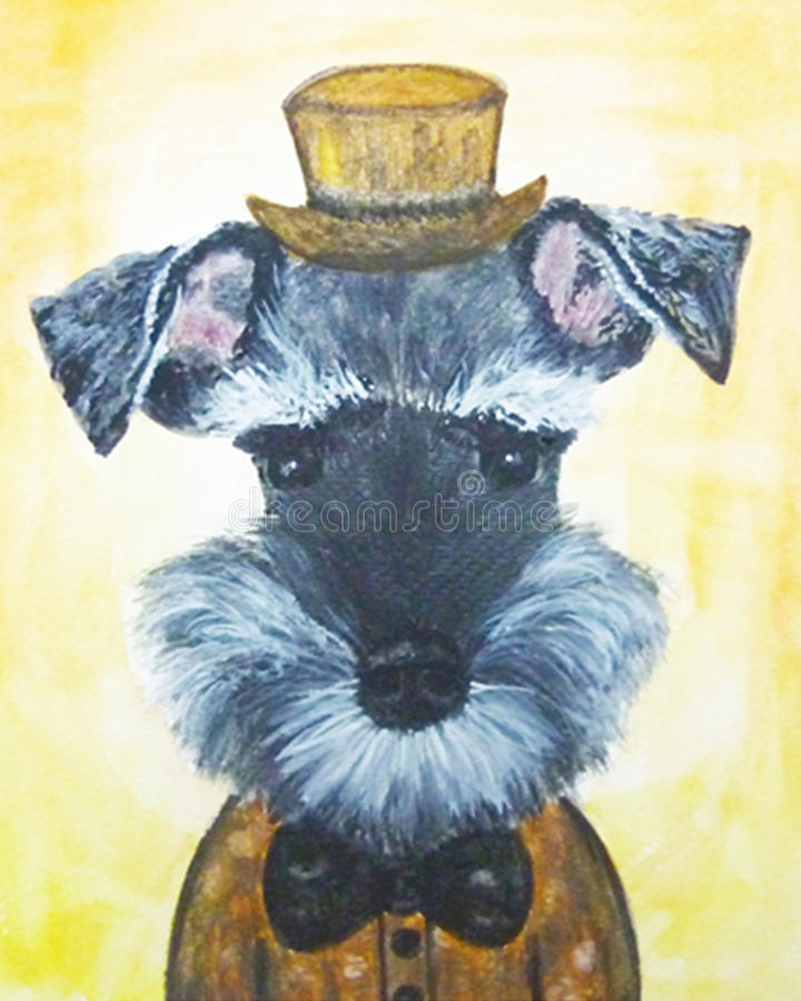 Schnauzer dog. Cute schnauzer dog puppy art watercolor vector illustration