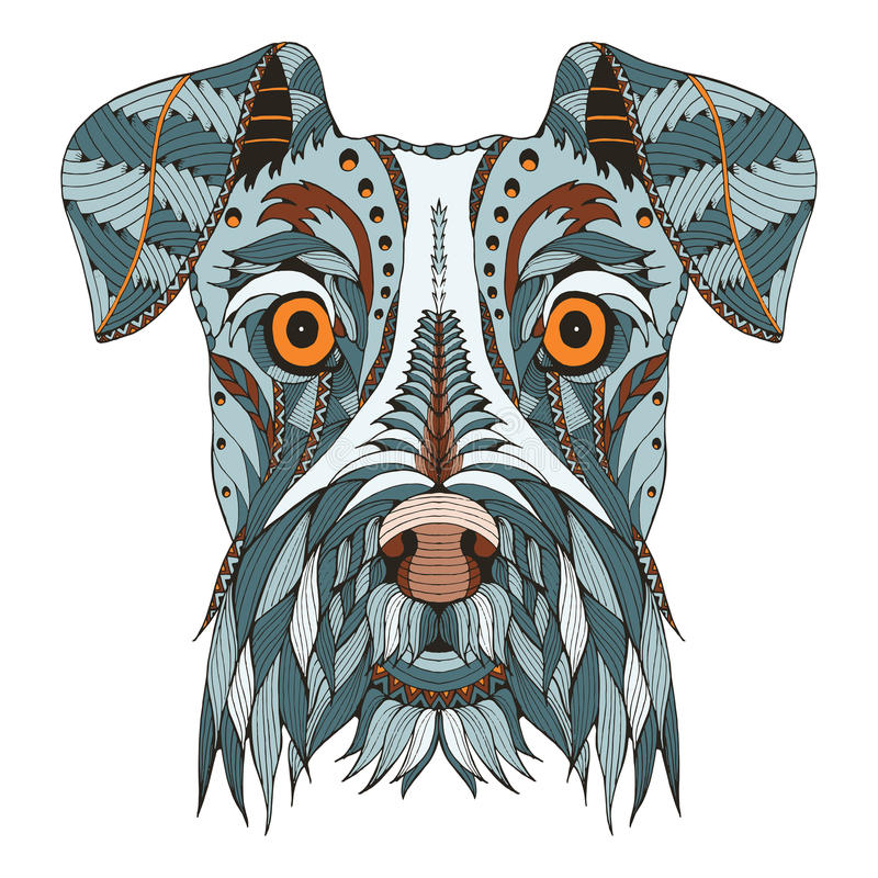 Schnauzer dog head zentangle stylized, vector, illustration, freehand pencil, hand drawn, pattern. Zen art. Ornate vector. Lace. Color. Print for t-shirts royalty free illustration