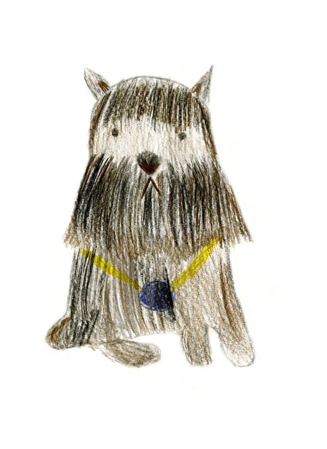 Schnauzer miniatura del perro negro y marrón con la medalla en los vagos blancos stock de ilustración