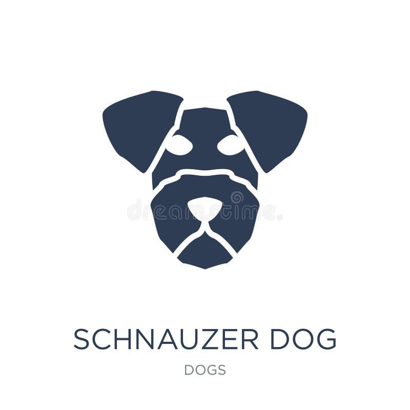Schnauzer psia ikona Modna płaska wektorowa Schnauzer psa ikona na whi royalty ilustracja