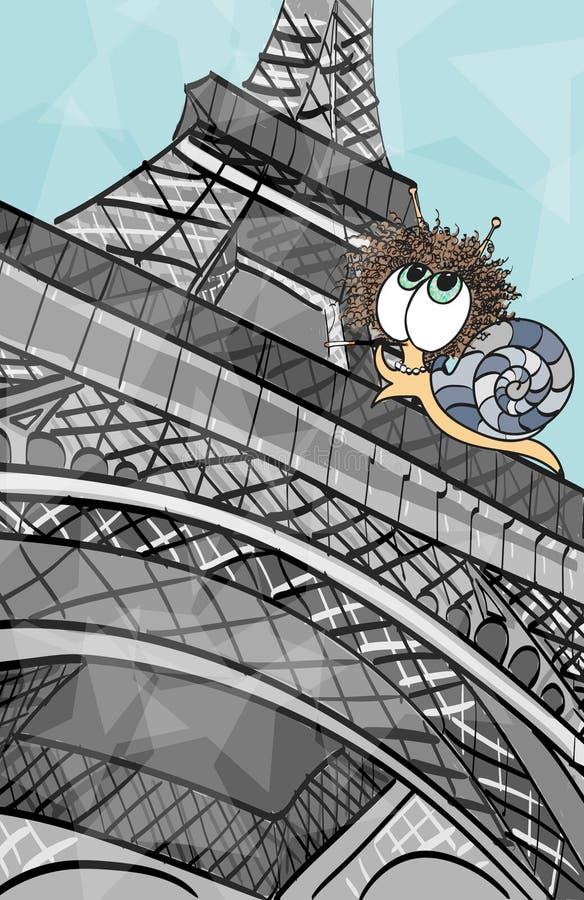 Schnecke am Eiffelturm lizenzfreie stockfotografie
