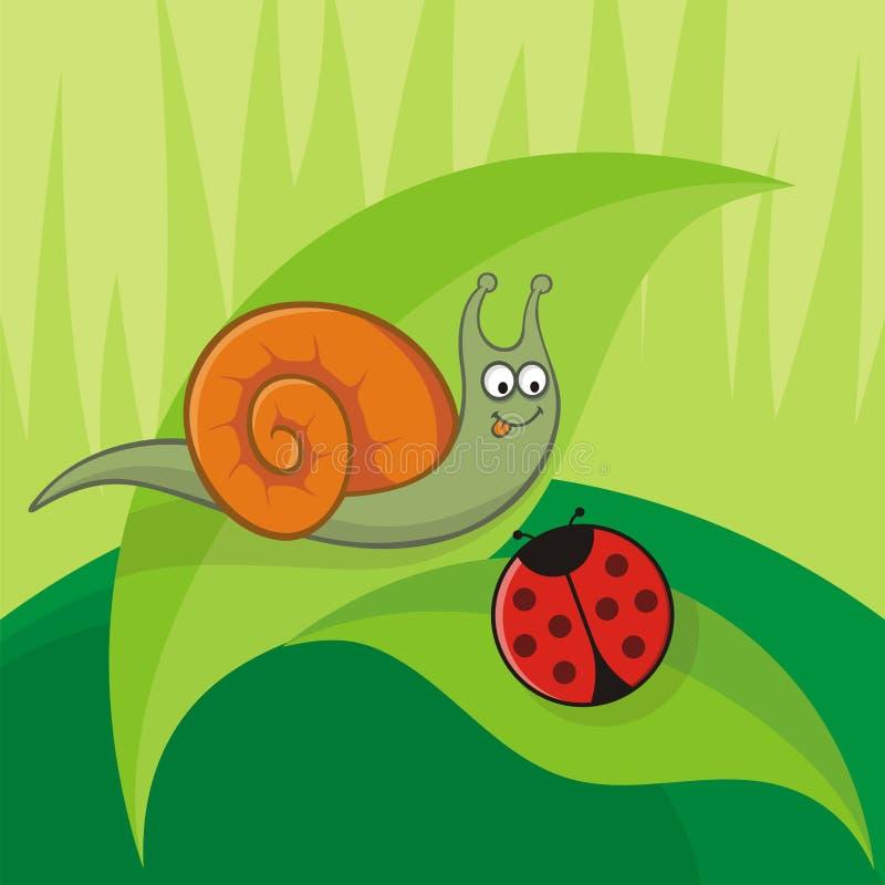 Schnecke mit Marienkäfer stock abbildung