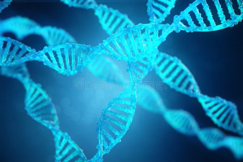 Schnecken-DNA-Molekül der Illustrations-3D mit geänderten Genen Korrektur von Veränderung durch Gentechnik Konzept molekular stock abbildung