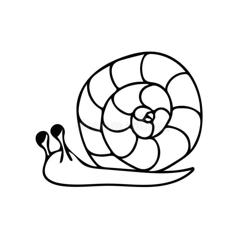 Schneckenhandschrift im Doodle-Stil Elementskandinavisches monochrome Minimalismus einfaches Vektorelement Lehm, Frühling, Sommer vektor abbildung