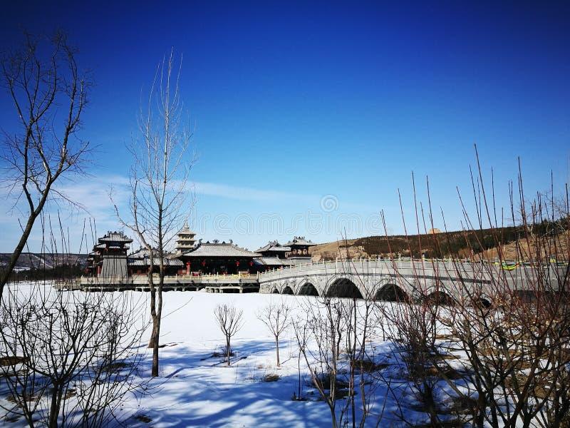 Schnee in altem China stockbild