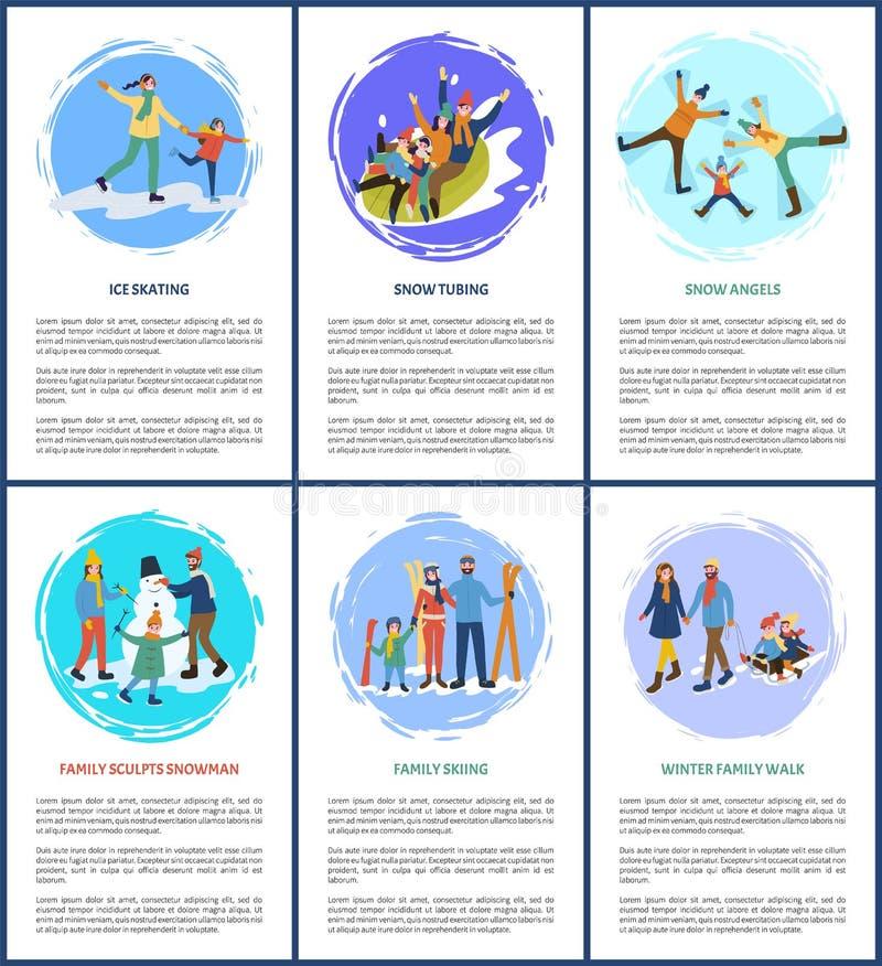 Schnee Angel Game, Schläuche und Eislauf auf Eis-Familie stock abbildung