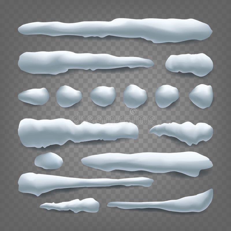 Schnee-Antrieb-Vektor Schneebälle, Schneewehe Neues Jahr-Winter-Eis-Element Realistische Schnee-Kappen Lokalisiert auf transparen vektor abbildung
