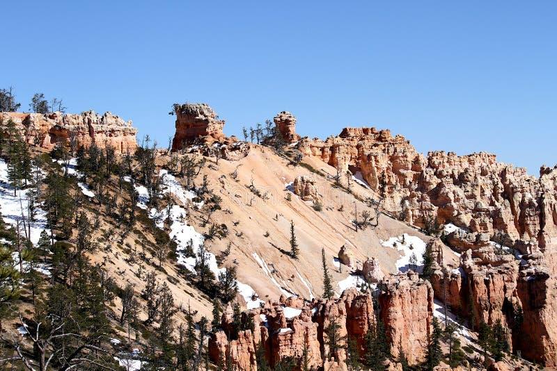 Schnee auf Bryce Canyon, Utah lizenzfreie stockfotos