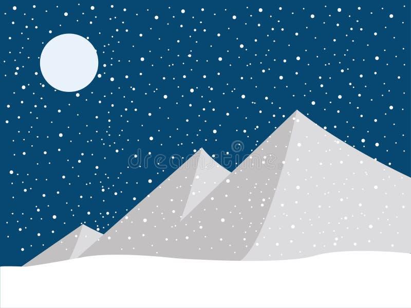 Schnee auf dem Berg Winterlandschaftskonzept vektor abbildung