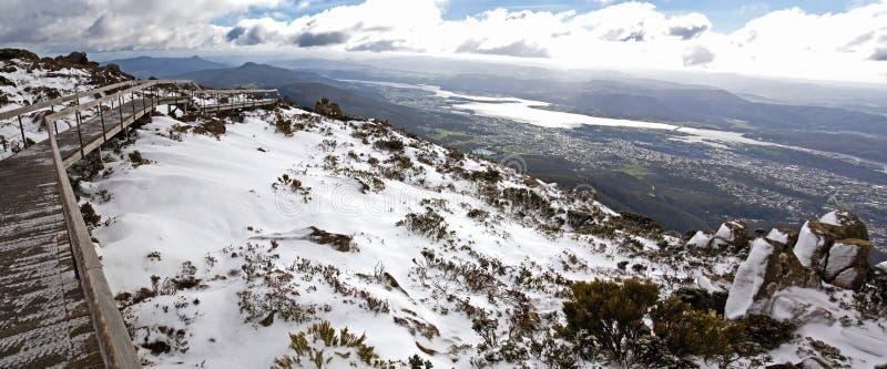 Schnee auf Montierung Wellington, Hobart stockbilder