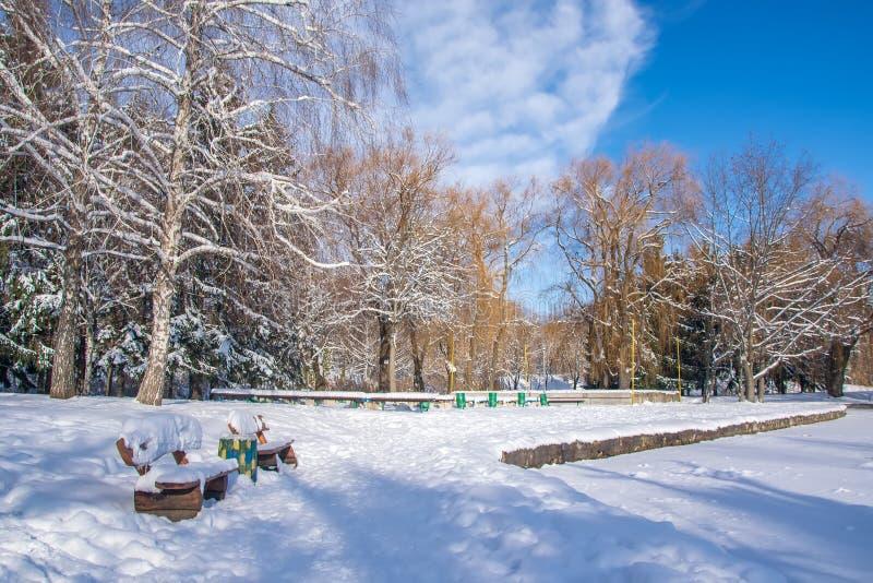 Schnee bedeckte Bänke im Winterpark am sonnigen Tag lizenzfreies stockfoto