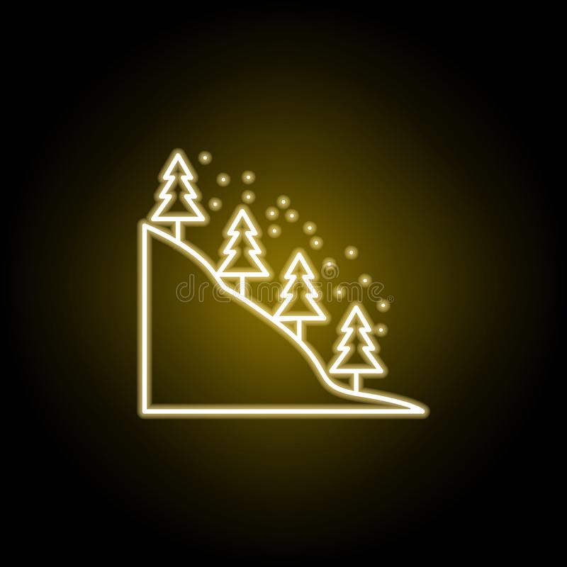 Schnee bedeckte B?ume in der Gebirgsikone in der Neonart Element der Reiseillustration Zeichen und Symbole k?nnen f?r Netz verwen lizenzfreie abbildung
