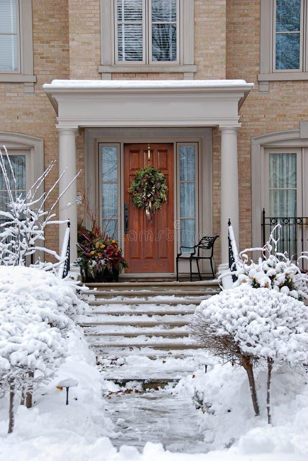 Schnee bedeckte Gebüsch lizenzfreies stockfoto