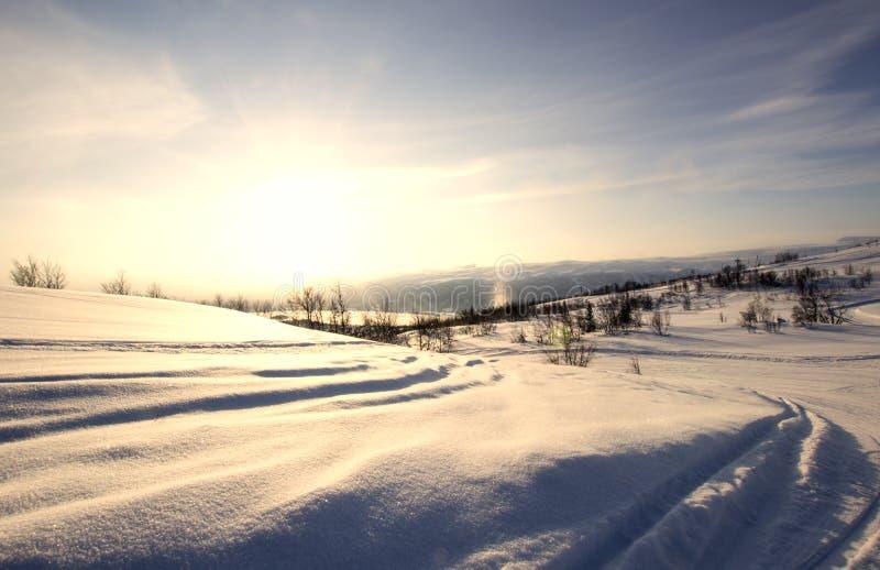 Schnee bedeckte Gebirgsbahnen stockbilder