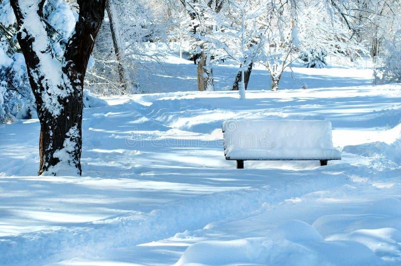Schnee bedeckte Parkbank in einem Winterpark lizenzfreie stockfotos