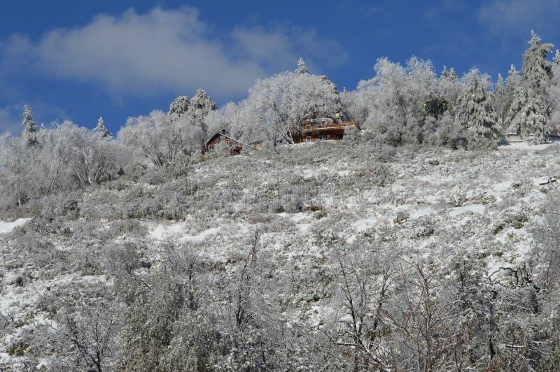 Schnee bedeckte San Bernardino Mountain Lodge lizenzfreie stockbilder