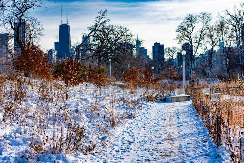 Schnee bedeckte Spur in Lincoln Park Chicago mit Skylinen stockfotos