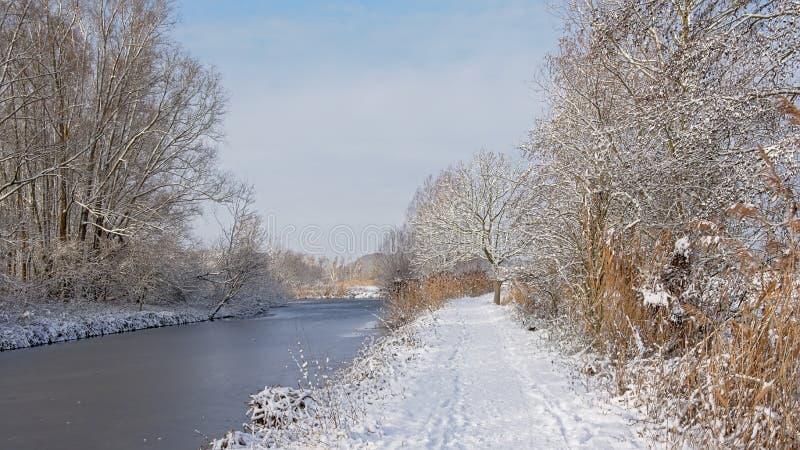 Schnee bedeckte Weg entlang einem gefrorenen Nebenfluss mit bloßen Winterbäumen und -sträuchen auf den Seiten lizenzfreies stockbild