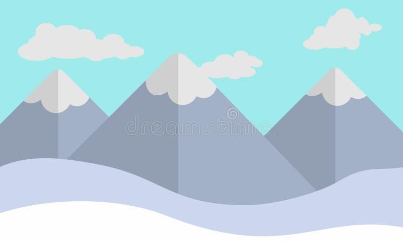 Schnee-Berg flach stockfotos