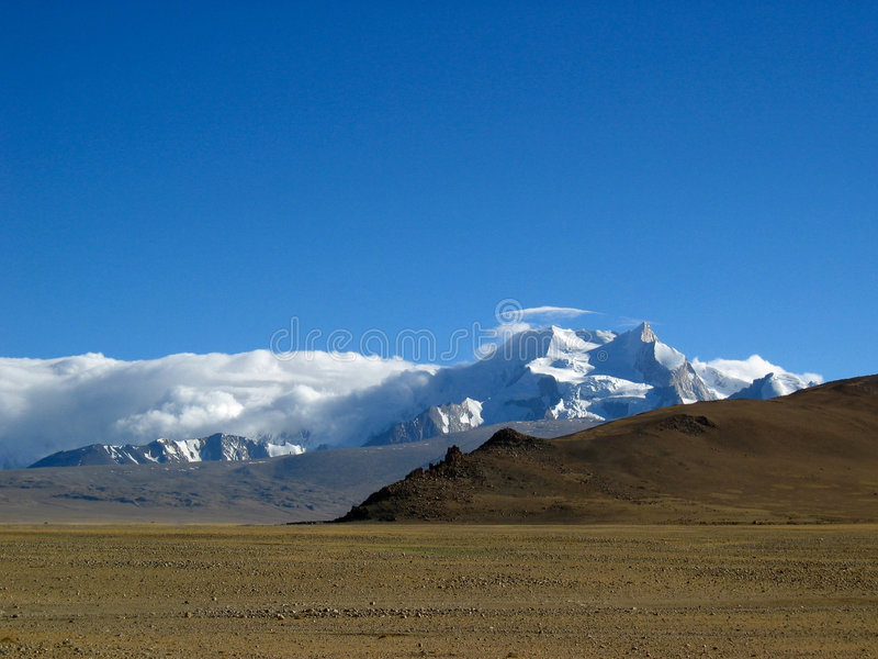SCHNEE-BERG in Tibet lizenzfreies stockbild