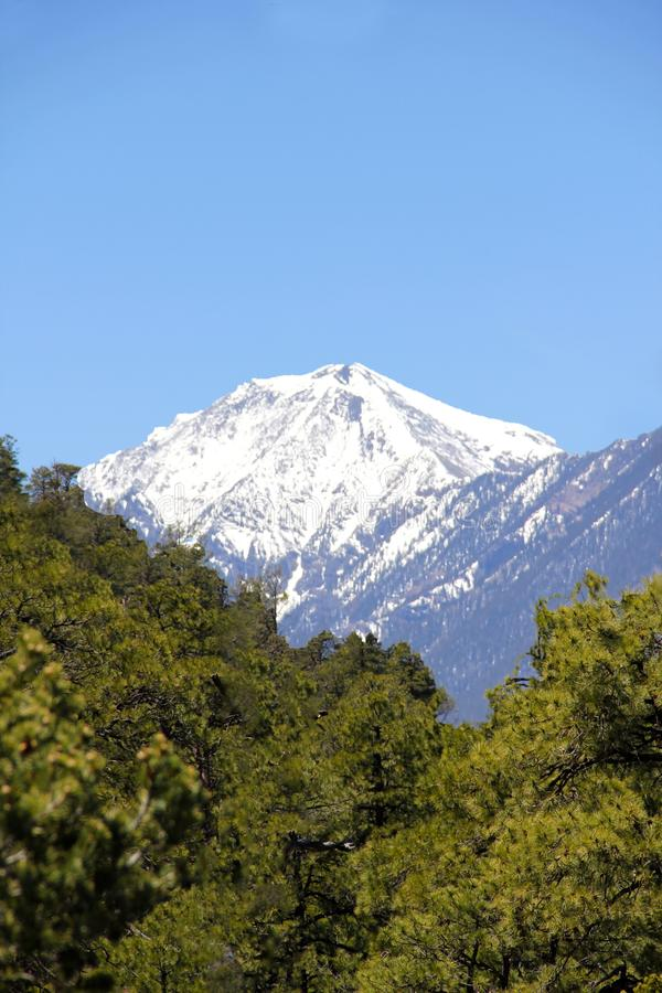 Schnee deckte Berg ab lizenzfreies stockbild
