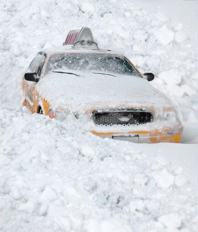 Schnee deckte New- York Cityrollen ab stockfoto