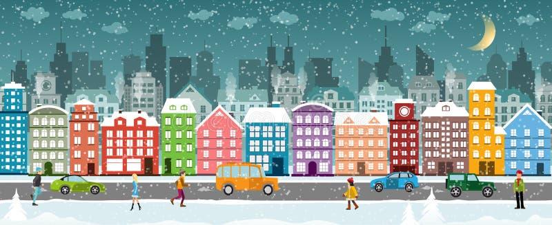 Download Schnee deckte Stadt ab vektor abbildung. Illustration von jahreszeit - 106801648