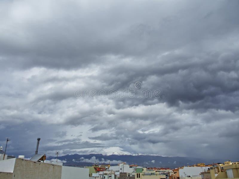 Schnee in den Kanarischen Inseln, Teneriffa, Spanien lizenzfreie stockfotos