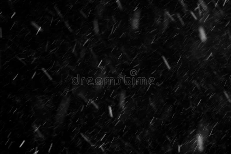 Schnee, der auf schwarzen Hintergrund fällt stockfoto