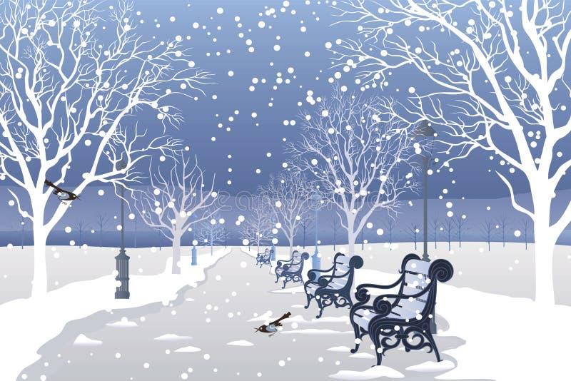Schnee, der in Stadtpark fällt lizenzfreie abbildung