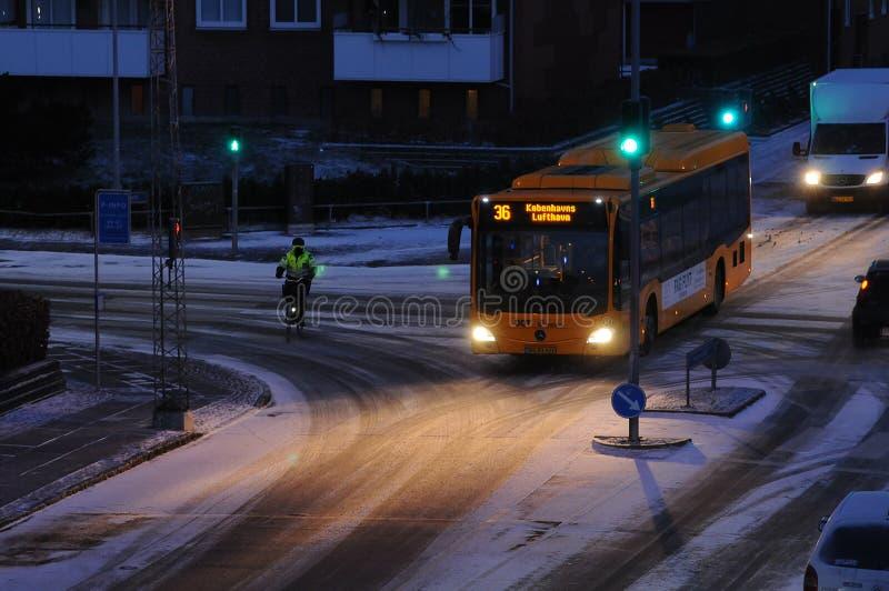 Schnee fällt in Dänemark stockfoto