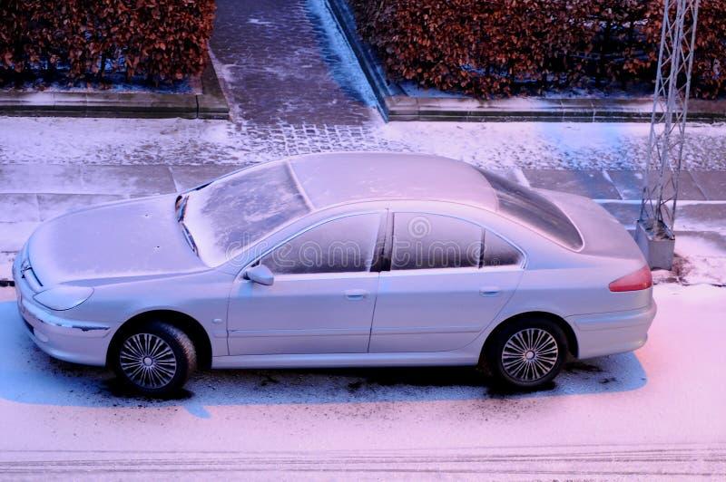 Schnee fällt in Dänemark lizenzfreie stockbilder