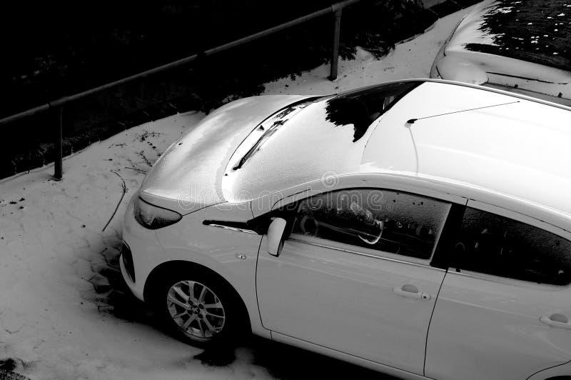 Schnee fällt in Dänemark stockbild
