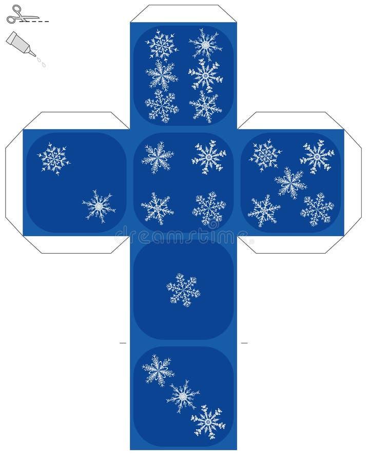 Schnee-Flocken-Würfel-Schablone vektor abbildung