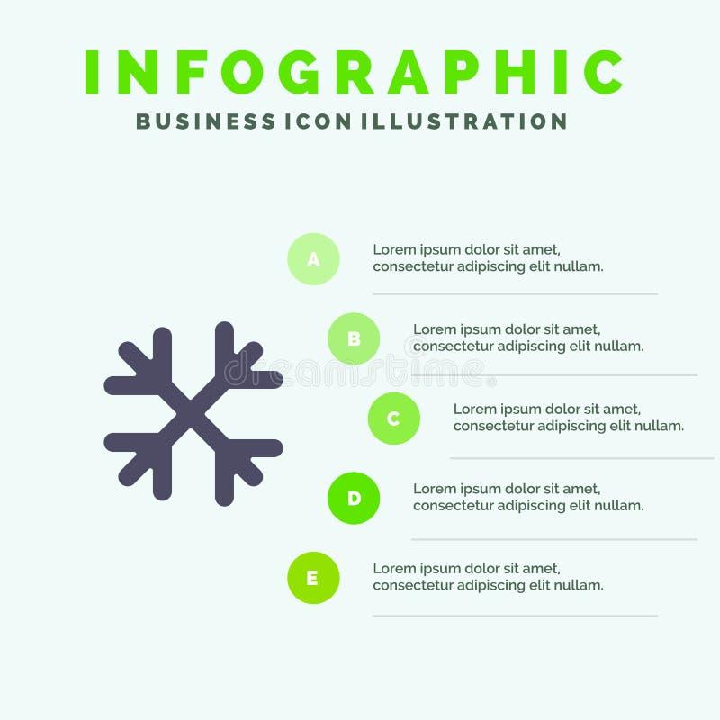 Schnee, Schnee-Flocken, Winter, Ikone Kanadas fester Schritt-Darstellungs-Hintergrund Infographics 5 vektor abbildung