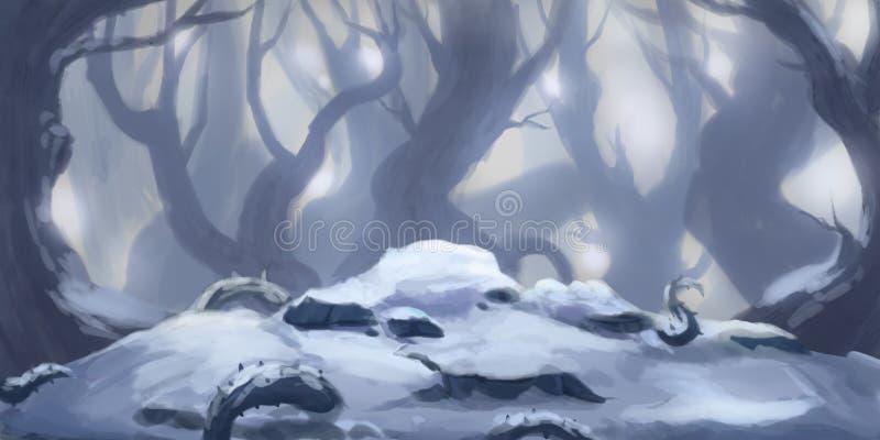 Schnee Forest Fiction Backdrop Konzeptkunst Realistische Abbildung lizenzfreie abbildung