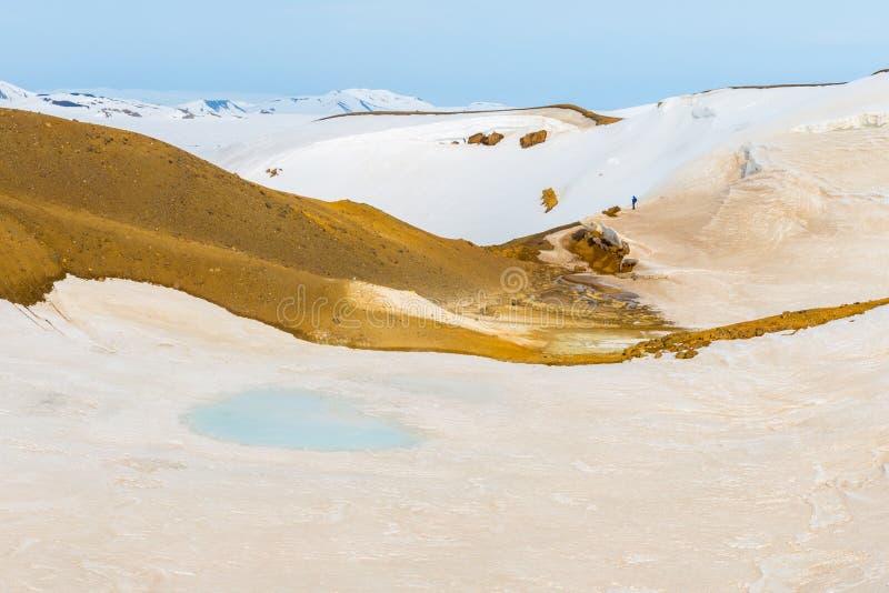 Schnee-freie Flecken decken heißen vulkanischen Boden in einem geothermischen Bereich auf lizenzfreie stockbilder