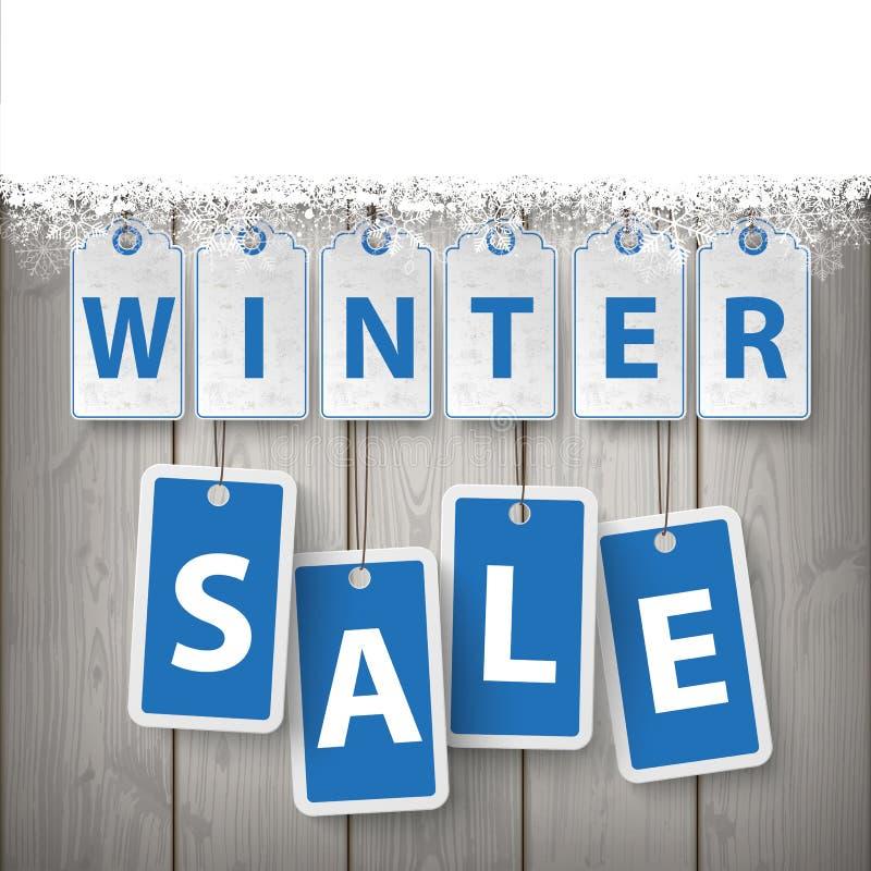 Schnee-hölzerner Latten-Winterschlussverkauf lizenzfreie abbildung