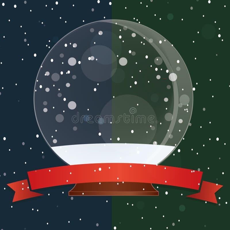 Schnee-Kugel - Weihnachtszauber-Ball auf dem Schnee vektor abbildung