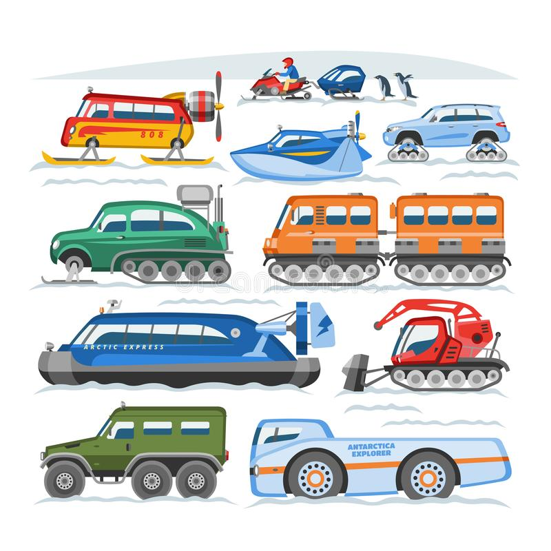 Schnee-LKW-Vektorwinterfahrzeug oder Schneemobiltransport- und schneebedecktertransportillustrationssatz des Schneemobil fahrung  vektor abbildung