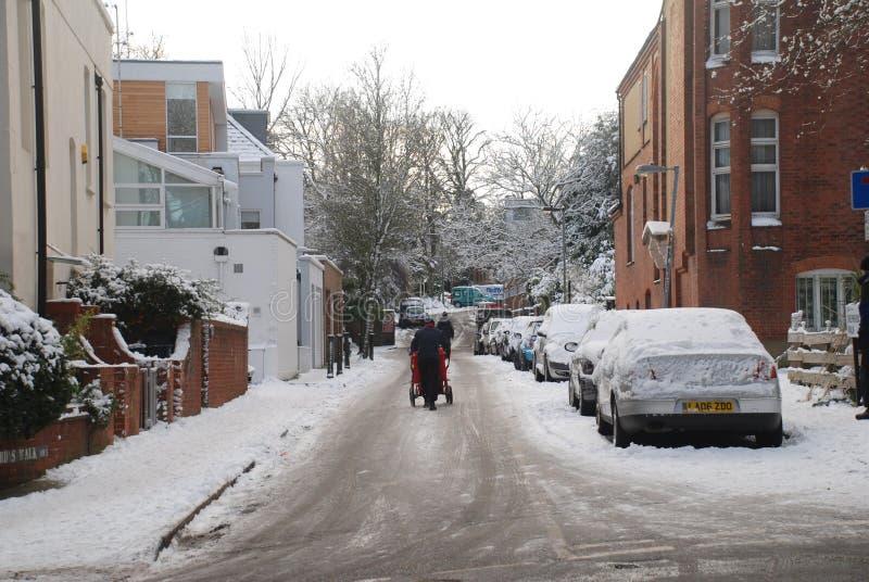 Schnee in London. lizenzfreie stockfotografie