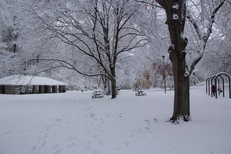 Schnee mit einer Kappe bedeckter Park lizenzfreie stockfotografie
