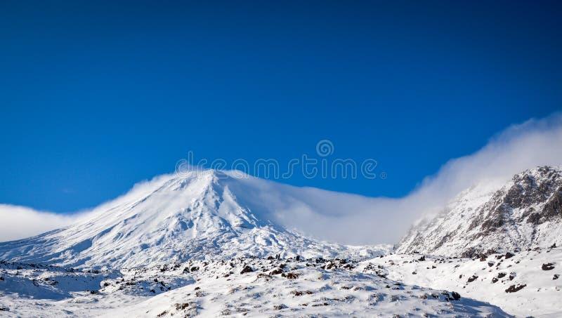 Schnee-mit einer Kappe bedecktes Berg-Schicksal stockbild