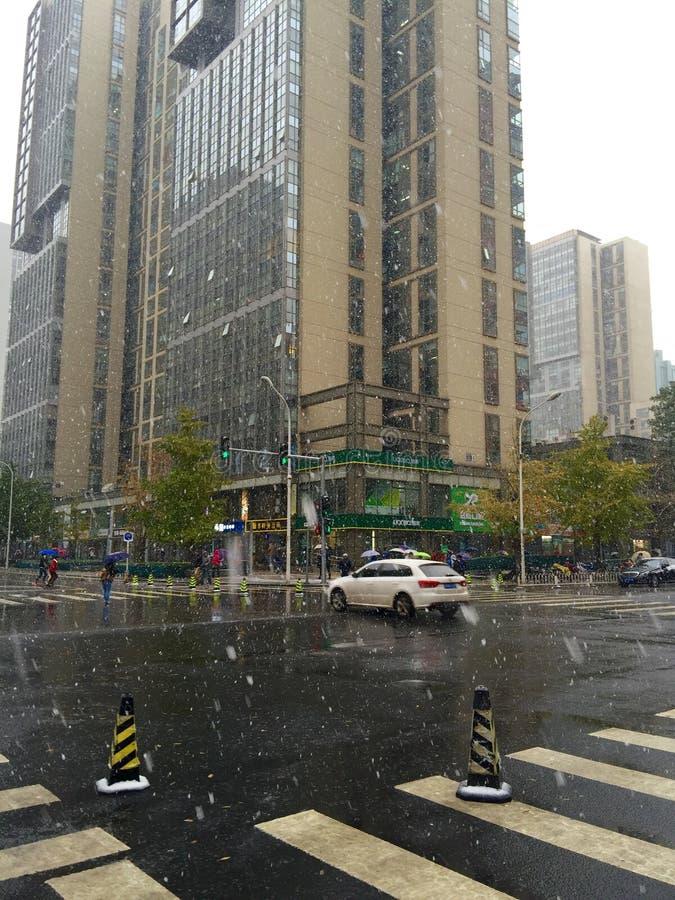 Schnee in Peking, China stockbild