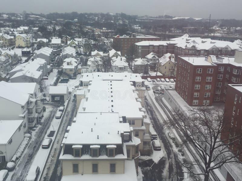 Schnee in Stamford, Connecticut lizenzfreies stockbild