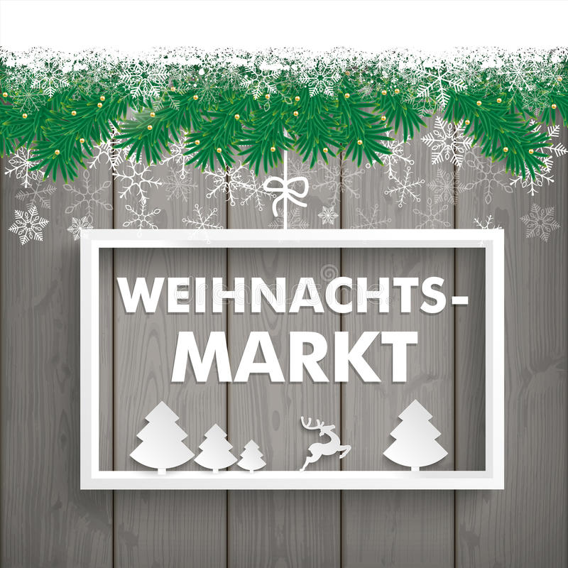 Schnee-Tannen-Zweig-hölzerne Latten Weihnachtsmarkt vektor abbildung
